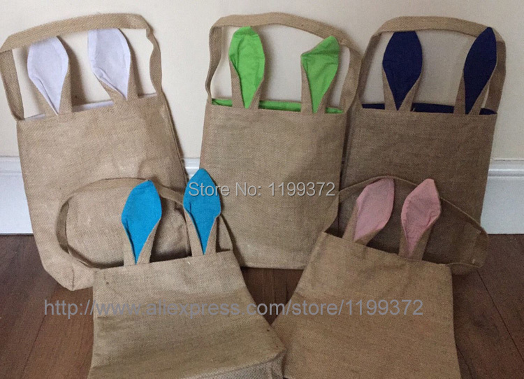 100pcs cotton lined linen canvas easter gift bag rabbit bunny ear super cute easter tote jute bag ideal for easter eggs and gifts or easter egg hunt negle Gallery