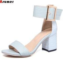 c03f40290ce30 Asumer الضوء الأزرق الوردي الأبيض أزياء الصيف السيدات الأحذية مشبك كعب مربع  الأحذية الأنيقة عالية الكعب النساء الصنادل عارضة .