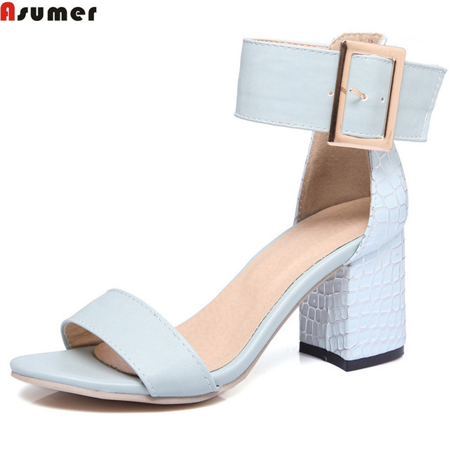 571fd9a7f4fc ASUMER pink white light blue fashion summer ladies shoes buckle square heel  casual prom shoes elegant high heels women sandals