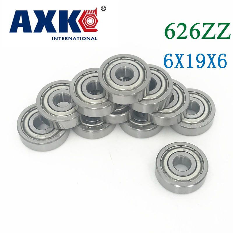 Axk 626zz <font><b>Bearing</b></font> Abec-5 10pcs 6x19x6 Mm Miniature <font><b>626z</b></font> Ball <font><b>Bearings</b></font> 626 Zz Emq Z3v3 Quality image