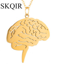 SKQIR Fashion Women Jewelry Gold Brain Pendant Unique Medical Brain Jewelry For Nurse Doctor Gift Stainless Steel Chain Necklace