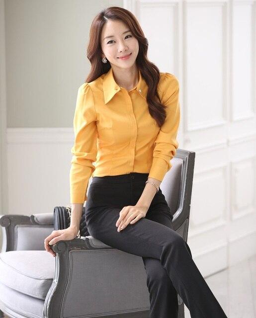 Novedad Amarillo Delgada Uniforme de Moda Trajes de Negocios de Estilo Profesional Con Tops Y Pantalones Señoras de la Oficina Pantalones Conjuntos Trajes de Pantalón
