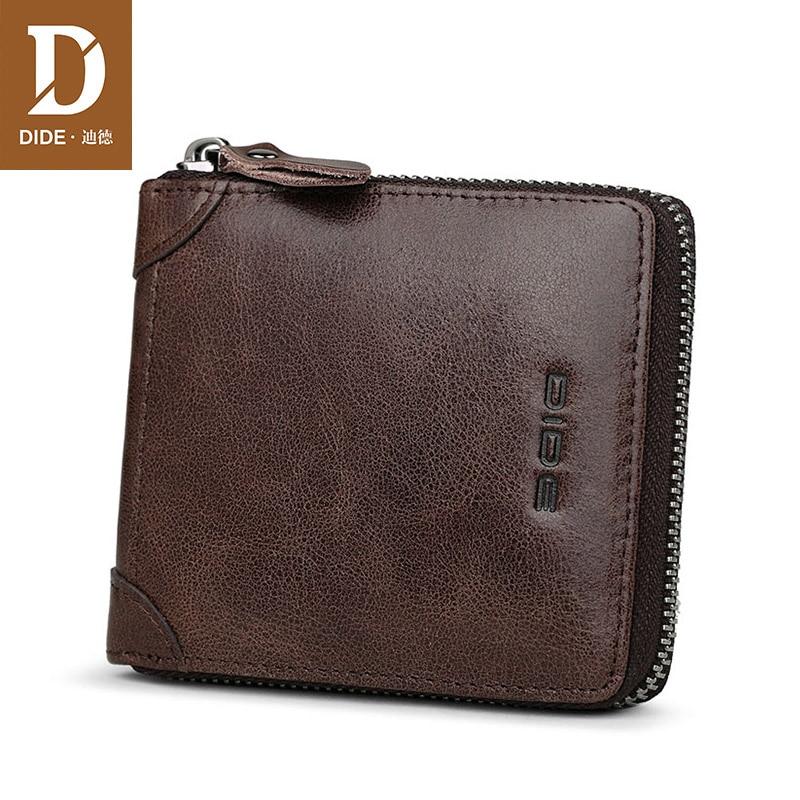 DIDE Short Wallet Card-Holder Coin-Purse Vintage Male Genuine-Leather Cow Zipper Men