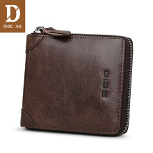 DIDE 2018 Simple Retro Mens Wallets Vintage Cow Genuine Leather Wallet Zipper Coin Purse Card Holder Short Male