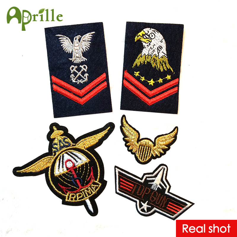 5pc cool military Set top gun eagle embroidered patches for clothing army biker logo sew iron on clothes badge motif appliques