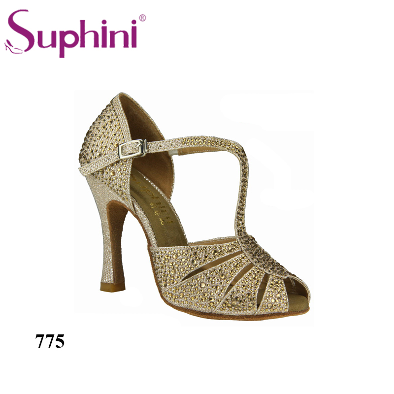 Фото Special Offer Free Shipping  2017 Suphini Full Crystal Latin Ballroom Dance Shoes Salsa Dance Shoes  775
