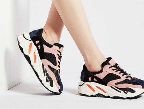Baimier cuir véritable rose femmes baskets à lacets Chunky talon femmes chaussures à plate-forme.