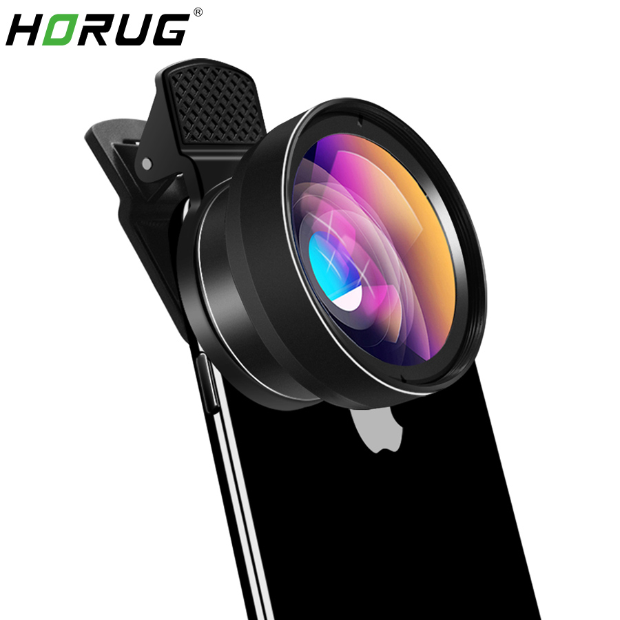 HORUG Mobile Phone Lens For Phone Smart 0.45X Wide Angle 12.5X Micro Cell Phone Camera Lens For iPhone X 8 7 Xiaomi Cellphoone image