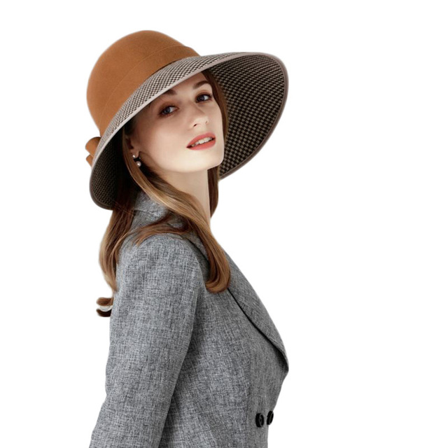 e9817e1833d ... FS Large Wide Brim Hats Felt Women Wool Fedora Vintage Bow Houndstooth  Cloche Hat Fedora Lady