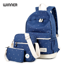 WINNER 3pcs/set Women Dot Printing Backpack Blue Student Book Bag with Purse Laptop Bagpack Lady School Bag for Teenager Girls winner brand set backpack laptop women bagpack canvas geometric bag backpack schoolbags for teenager girls rucksack 3pcs