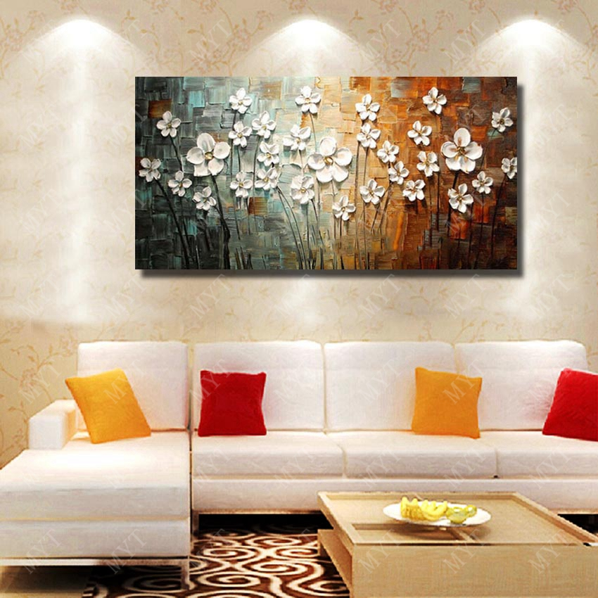 Aliexpress.com : Buy Chinese Wall Art Modern Living Room Wall Decor Flower  Painting Large Canvas Art Hand Painted Wall Pictures No Framed From  Reliable Wall ...