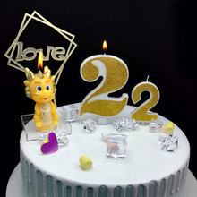 1 Pc Extra Large Golden Glitter Digital Candle Happy Birthday Cake Decoration Wedding Confession for Children Boy Girl