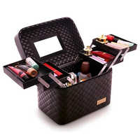 Women Professional Big Suitcase For Make Up With Mirror Ladies PU Cosmetic Box Organizer Bag Female Artist Makeup Bags Case 316