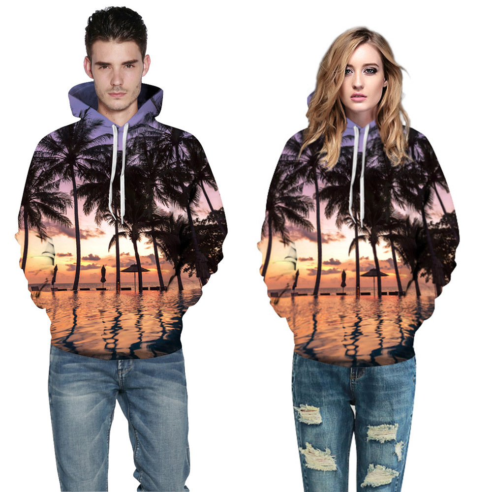 Foreign Trade New Digital Printing Men and Women Sweatshirt Coconut Tree Pattern Printing Pullovers Loose Large Size Casual Wear