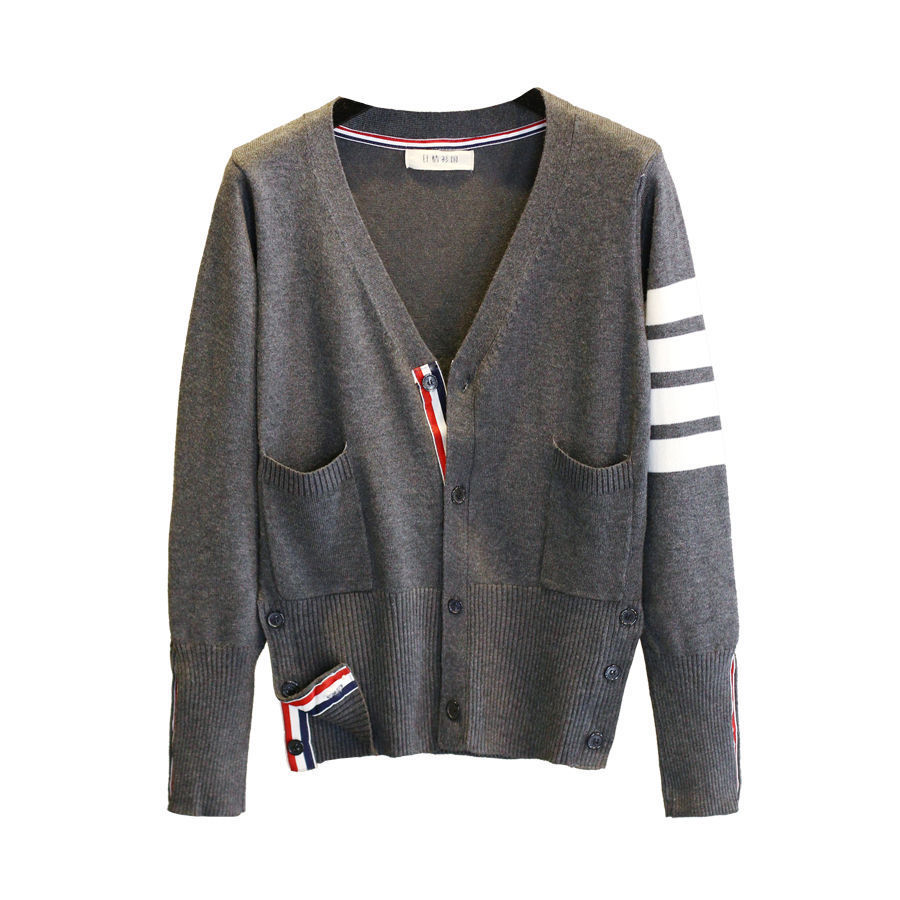 3 Color Strip Women Knitted Cardigan Coat Autumn Winter Casual V-Neck Long Sleeve Crochet Knit Sweater Coat Female Tops