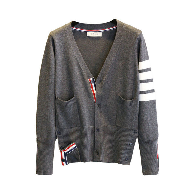 3 color strip Women Knitted Cardigan Coat Autumn Winter Casual V Neck Long Sleeve Crochet Knit Sweater Coat Female Tops