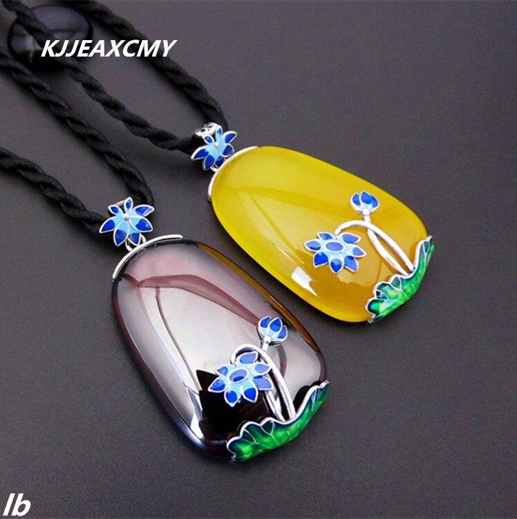 KJJEAXCMY bijoux fins 925 Thai argent grenat agate fleur pendentifs dames nouvelle atmosphère