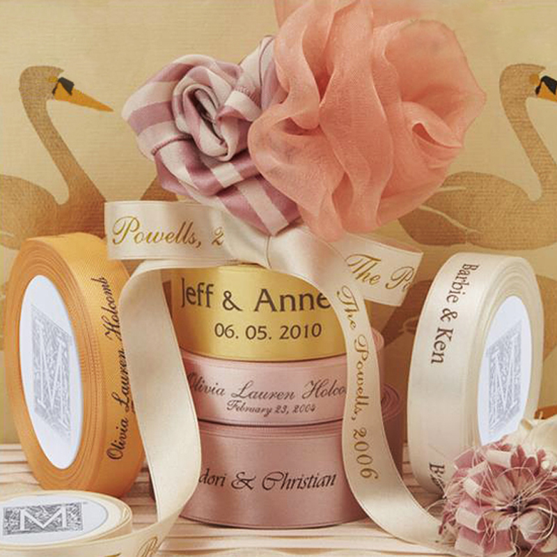 Free Shipping 100 Yard/Lot Gift Packaging Polyester Decoration Personalized Ribbon Wedding Favors And Gifts Custom