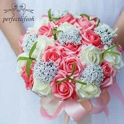 Perfectlifeoh noiva segurando flores, casamento romântico colorido bouquet da noiva, vermelho rosa azul e roxo buquês de noiva \ roxo