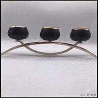 new design black three Candle Holder Gold plated Wedding Candelabra/ Centerpiece Center table Decoration Candlestick