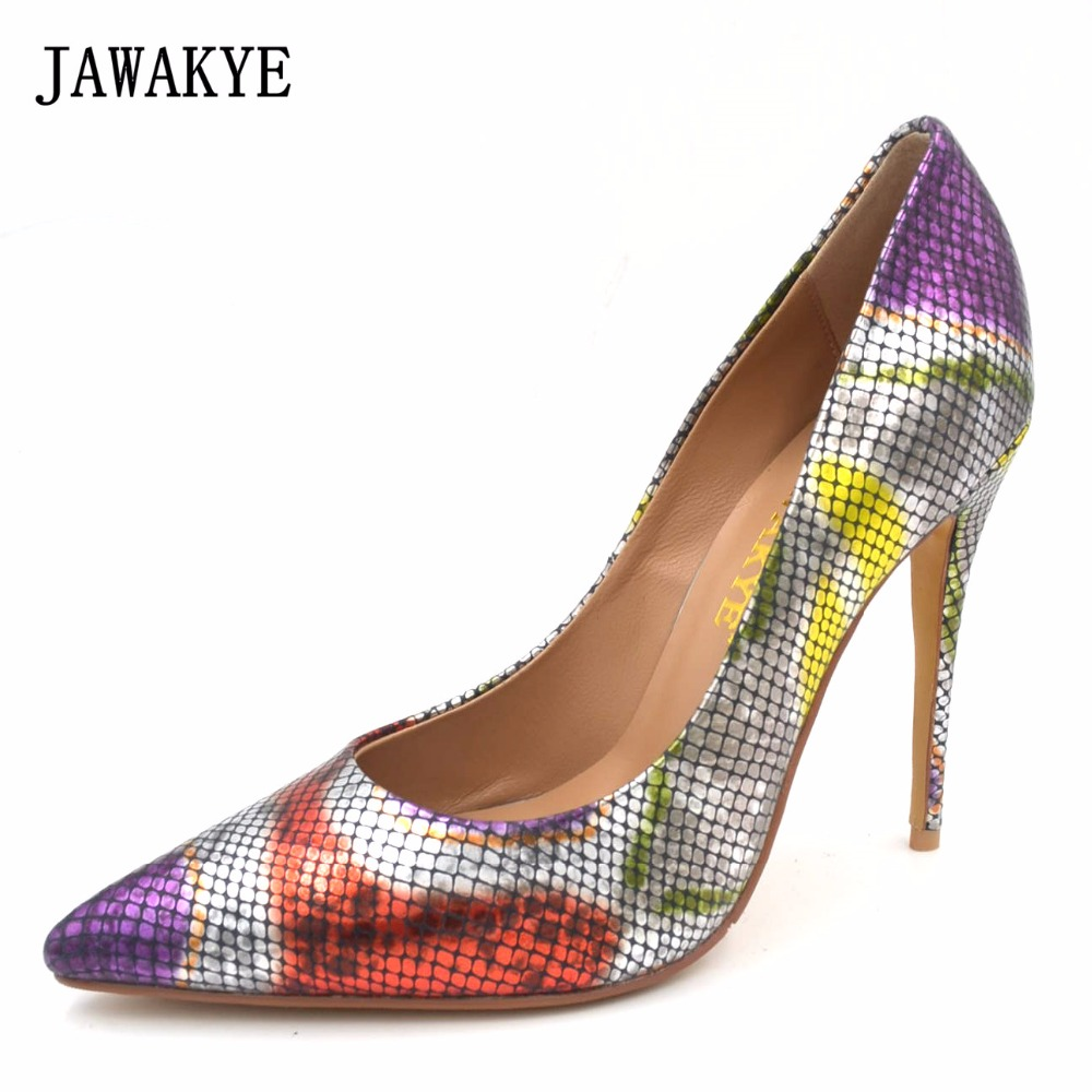JAWAKYE Sexy Extreme High Heels Snake Pattern Cowhide Leather Women Pumps Pointe Toe Platform Shoes Heels for Party 2018 fashion women round toe height platform extreme high heels shoes 16cm snake sexy pumps nightclub evening party