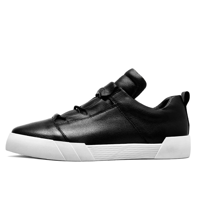 Walker Couro Hombre Zapatillas Pico Genuíno Moda De Homem White Homens Sapatos Preto Casuais black Para Tênis Marca xwqpnEOP