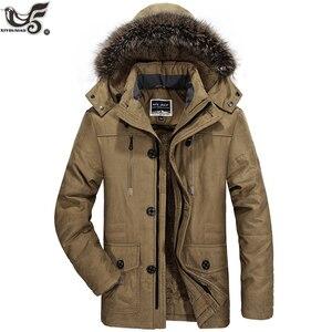 Image 1 - Chaqueta de invierno para hombre abrigo militar negro con relleno de algodón grueso cálido, abrigo parca vestuario, rompevientos, Abrigo con capucha de piel