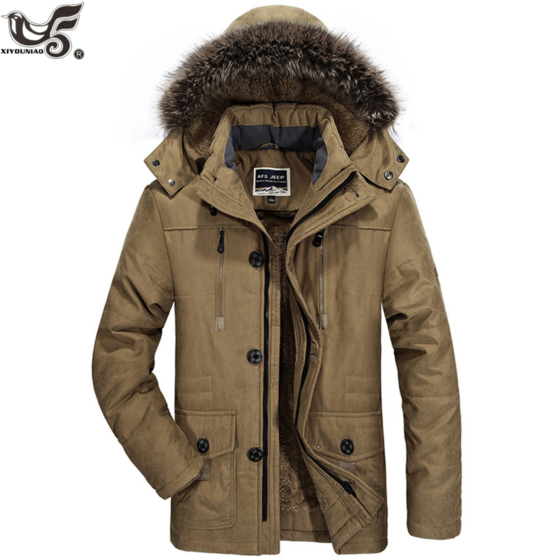 Winter Jacket Men Warm Thicken Cotton-Padded Black Military Parka Coat Outwear Men`s Windbreaker Fur Hooded Overcoat Clothes