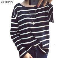 Autumn Fashion Hoody Stripes Hoodies For Women Casual Sweatshirts Navy Black White Striped Sweatshirt High Quality