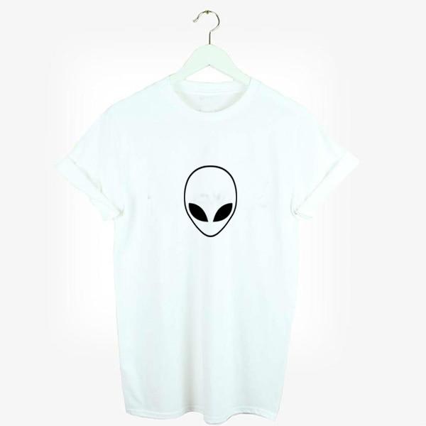 Tshirt Loose Alien Shirt  Print Women T-shirt Girl 100%  Cotton Printed Graphic Tees women Harajuku Anime Tshirt Korean Emoji Funny