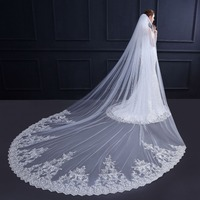 3.5 M White Ivory Cathedral Wedding Veils Long Applique Edge Bridal Veil with Comb Wedding Accessories Bride Veu Wedding Veil