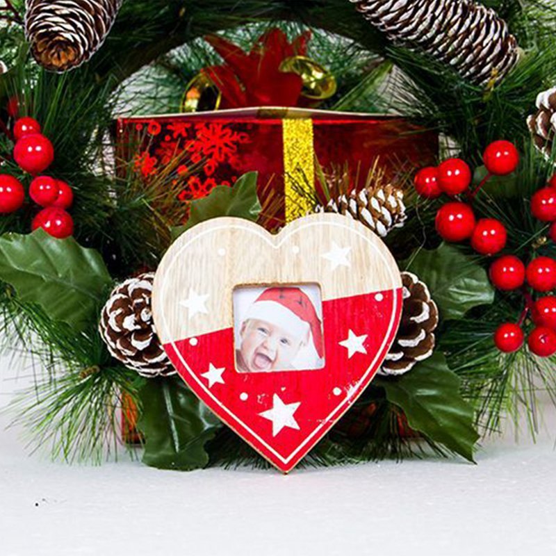 Christmas Tree Decor Hanging Wooden Picture Frame With Rope Merry ...