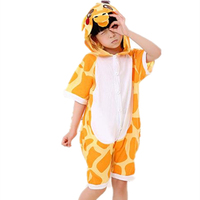Cartoon Anime Giraffe Cosplay Costume Summer Jumpsuit Short Sleeve kid Animals Giraffe Pajamas Pyjamas Onesie Children Sleepwear