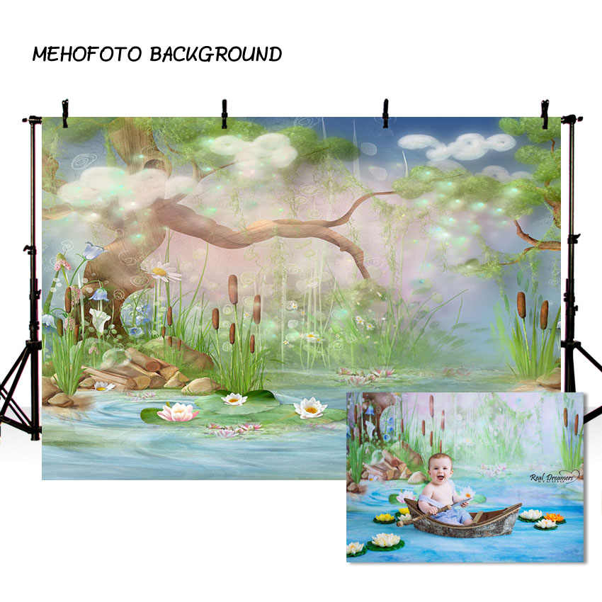 Vinyl Photography Backgrounds Tree River Lotus Firefly Children Wonderland  Spring Season Decor Backdrop for Photo Studio
