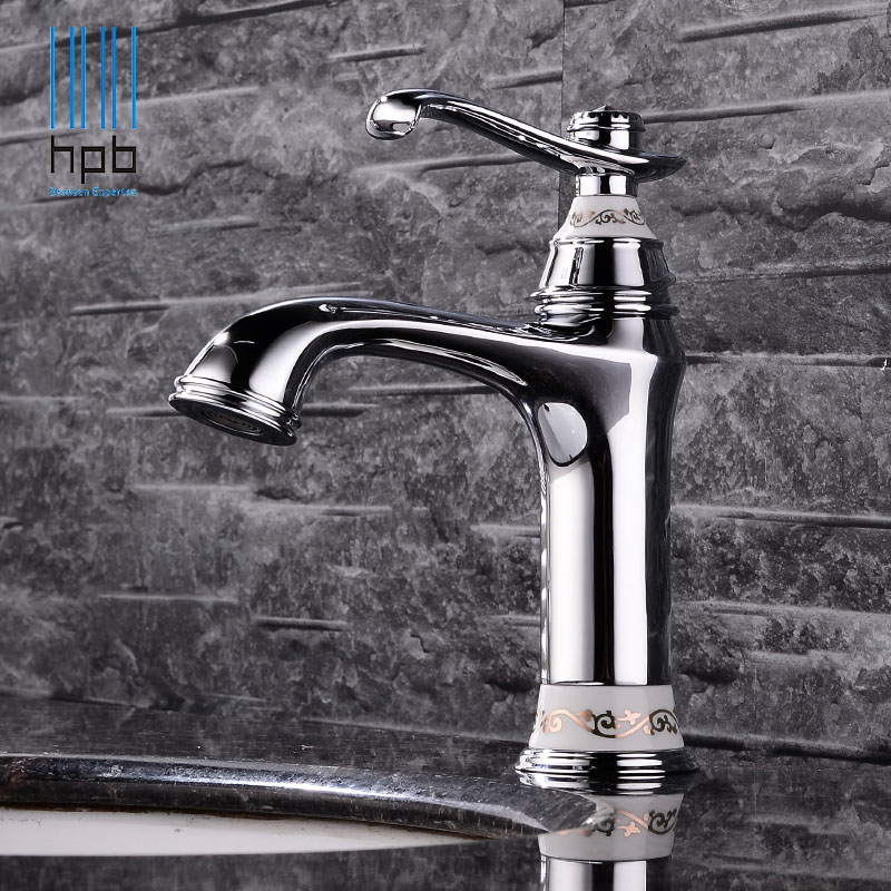 HPB Elegant Brass Bathroom Basin Faucet Sink Mixer Hot and Cold Water Mixer Tap  Deck Mounted Single handle Hole robinet HP3042 solid brass bathroom sink faucet single handle waterfall spout basin mixer tap hot and cold water faucet deck mounted