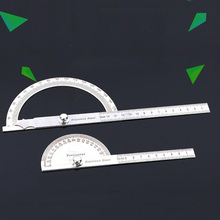 Stainless Steel Round Head Angle Ruler 180 Metric Angle Angle Instrument Rotating Measuring Ruler Artisan Angle Measuring Tool steel 90 degree angle metric 50cm scale ruler sling angle silver