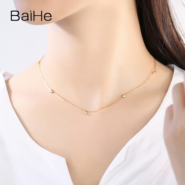 BAIHE Solid 18K Yellow Gold Certified H/SI 0.15ct Round cut Natural Diamonds Women Fine Diamond Jewelry Trendy Wedding Necklaces 6