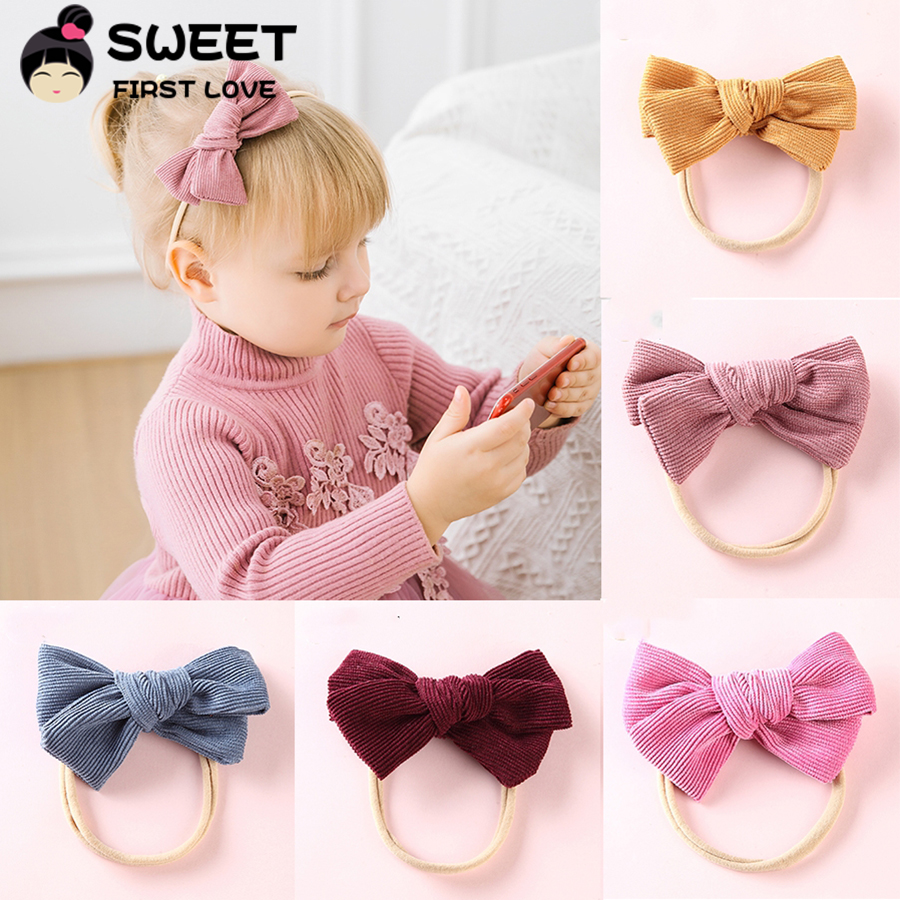 Corduroy Bow Headbands Nylon Hair Ties For Kids Girls Soft Elastic Ponytail Hair Headbands Cute Hair Bands Gift Hair Accessories