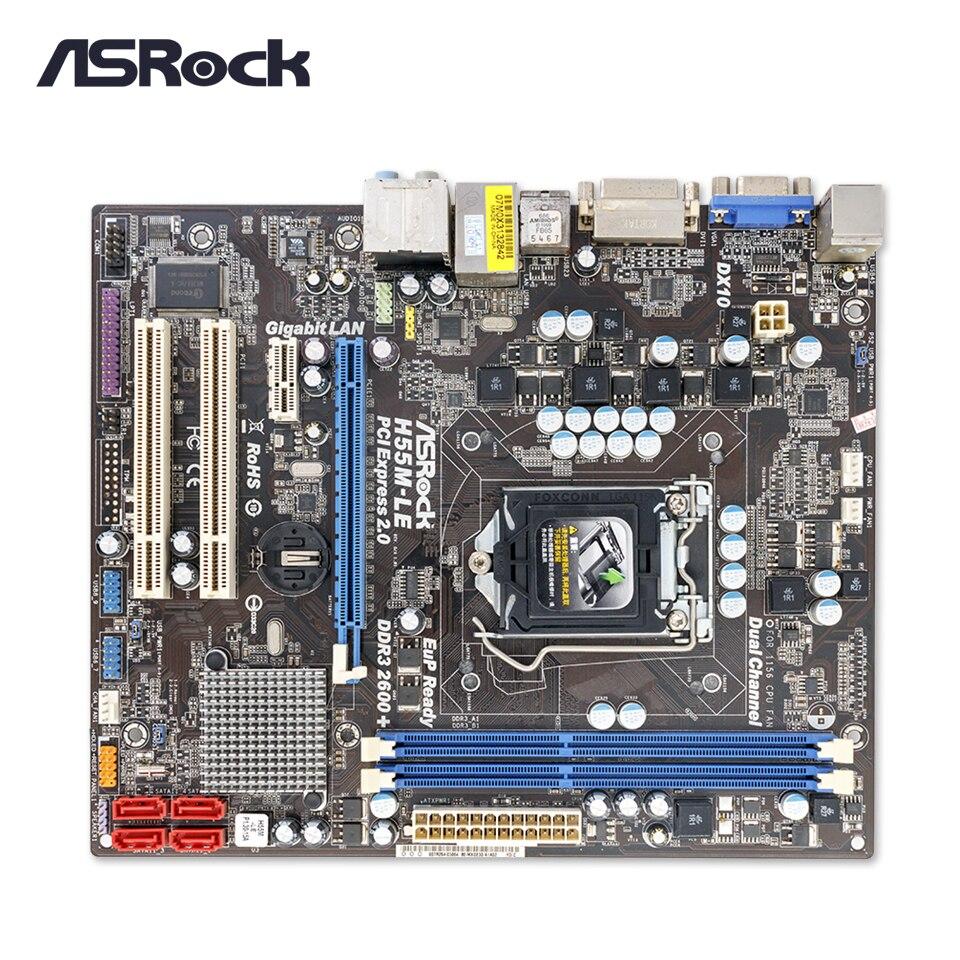 Asrock H55M-LE Original Used Desktop Motherboard H55 Socket LGA 1156 i3 i5 i7 DDR3 8G SATA2 USB2.0 Micro-ATX asrock h61m hvs original used desktop motherboard h61 socket lga 1155 i3 i5 i7 ddr3 16g micro atx