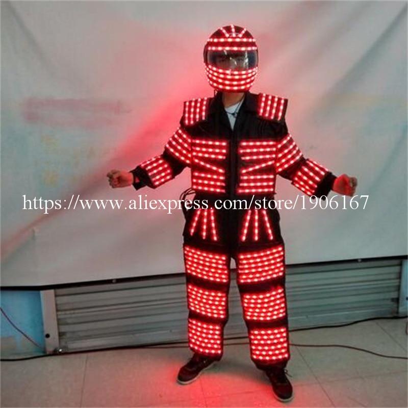 Färgglada LED Lysande Robot Suit LED Kläder Växande Ljus Kryoman - Semester och fester