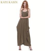 Kate Kasin Maxi Summer Dress Vestidos Casual Loose Women Clothing Boho Adjustable Strap Pull-On Sexy Club Beach 2017 New Dresses