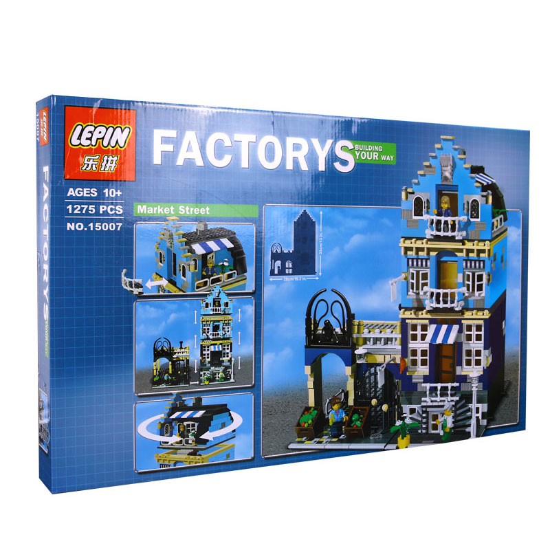 DHL Lepin Factory City Street European Market Model Building Block Set Bricks Kits  DIY Compatible 10190 Educational Toys lepin 16002 modular pirate ship metal beard s sea cow building block set bricks kits set toys compatible 70810