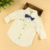 Baby Boys Long Sleeves White Shirts Boys Fashion White Blouses With Bow Tie Colourful Buttons Shirts Retail And Wholesale