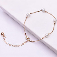 Hot Sell Charm Roses Imitation Pearl Anklets Chain Bracelet Bells Anklet for Woman Wedding Jewelry Bijoux Valentine's Day Gift
