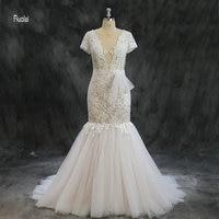 Vestido De Noiva Wedding Dresses 2018 Long Mermaid Wedding Gown Lace Appliques Lace Up Back Elegant