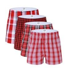 2019 جودة عالية جديد الأحمر الكلاسيكية كبيرة منقوشة ملابس داخلية للرجال القطن عادية Creathable 3 حزمة مرونة الخصر الأوروبي حجم