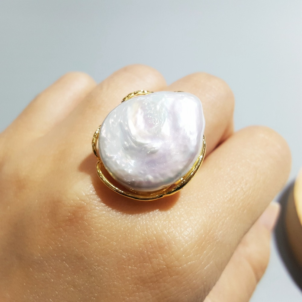 Lii Ji Real Big Baroque Pearl 925 Silver Adjustable Ring