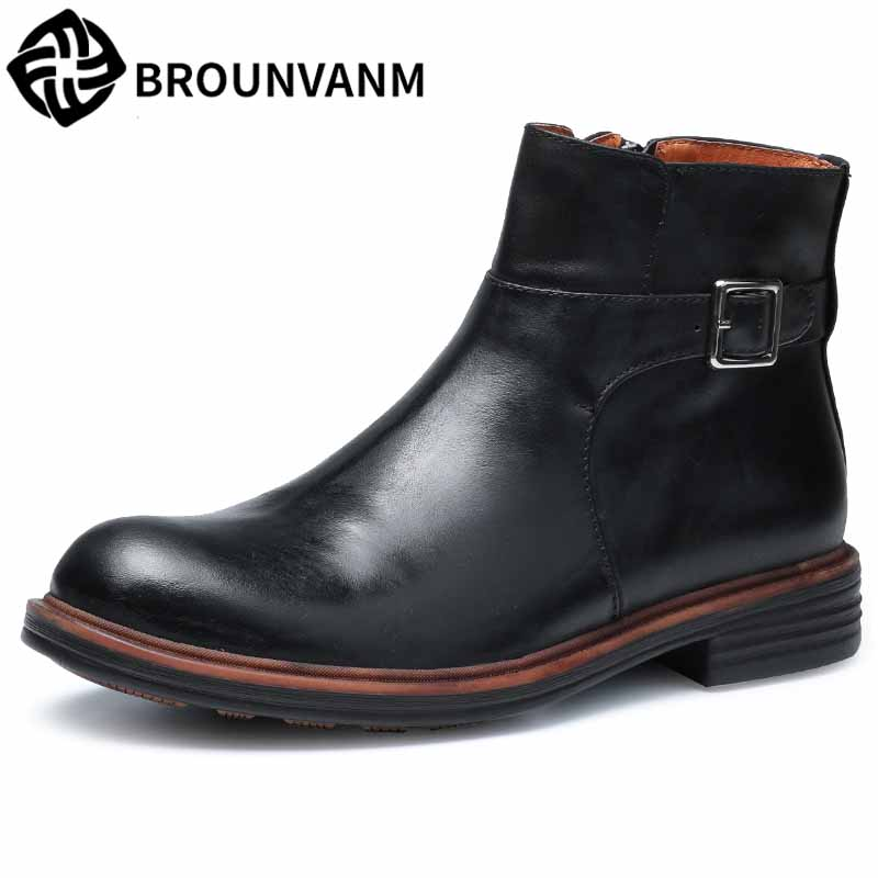Martin boots men autumn winter British retro men shoes all-match cowhide Chelsea boots men's high top shoes breathable casual men leather boots sleeve retro martin chelsea boots men s casual shoes are all match round high for england