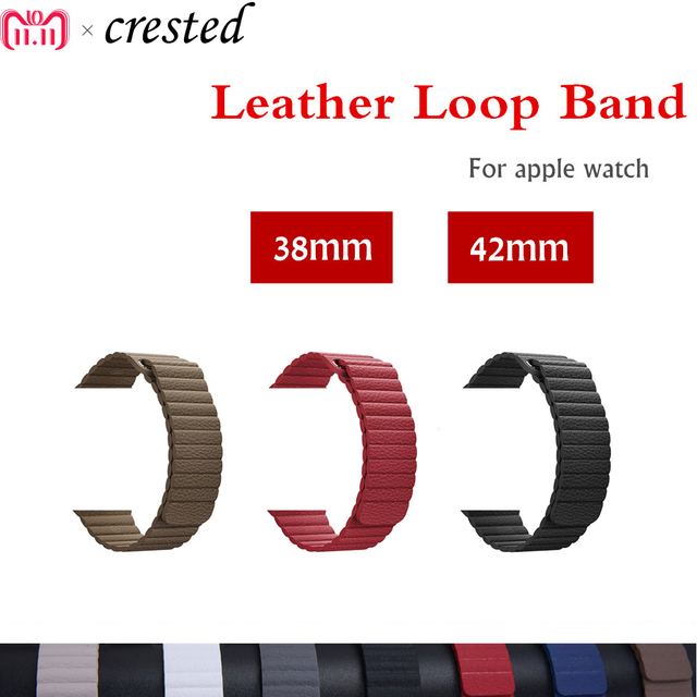 Leather loop strap For Apple watch band 42mm/38mm iWatch band 44mm/40mm Magnetic Closure watchband bracelet Apple watch 4 3 2 1