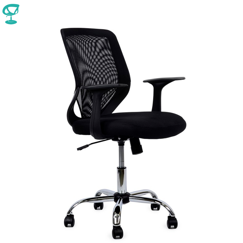 95150 Black Office Chair Barneo K-139 Fabric And  Mesh High Back Plastic Armrests Withgas Lift Roller Free Shipping In Russia